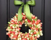 Tulips Front Door Wreath Door Wreaths  Spring Tulips Mother's Day Wreath  Easter Wreaths  Easter Tulips Trending Wreaths