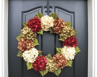 XL Fall Wreath, Hydrangea Wreath, Holidays, Wreaths, Hydrangeas, Fall Home Decor