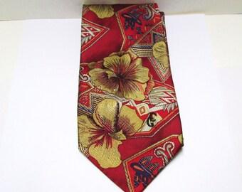 Silk Tie Mens Designer Necktie Christian Garets Vintage Wide Silk Tie Red Gold Signature NOS New Old Stock Wild Tie Floral