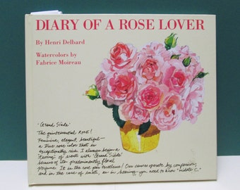 Book Rose Lover Diary Watercolors Vintage Illustrated Profusely Pastel Illustrations Garden Plant Gardeners gift