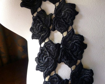 8 Black Venice Lace Rose Appliques for Altered Couture, Headband, Jewelry or Costume Design L 3024