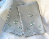 Vintage Linen Guest Towels with Embroidery in Grey Blue Set of Two