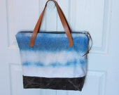 Canvas Tote Bag with Leather Handles and Waxed Canvas Base in Blue.