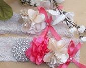 Garter,Coral Wedding,Coral Garter,Coral Garter Set,Lace Garter,Wedding,Bridal Garter,Plus Size Garter,Plus Size Bride,Rhinestone Garter