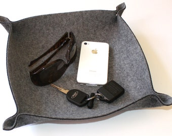Travel Valet Tray Husband Father's Day Gift For Him Leather Alternative Wool Felt Men's Gift Catchall Dish Catch All Gift For Boyfriend