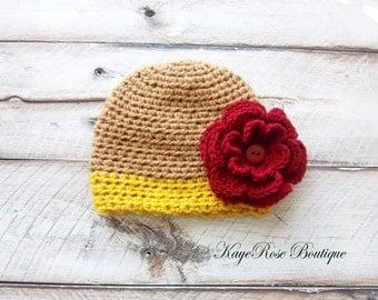 Newborn to 3 Month Old Baby Girl Crochet Autumn Flower Hat Khaki Auburn and Maroon
