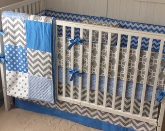 SALE Complete Nursery Set Ready to Ship Crib Bedding Blue and Gray Elephants