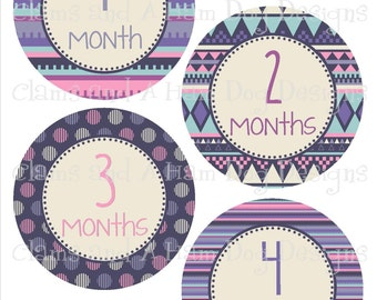 Monthly Baby Milestone Stickers- Girls monthly bodysuit stickers- Baby month stickers with optional Gerber ONESIE-shower gift- tribal GRL369