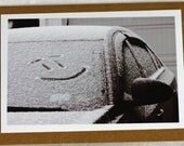 Custom order for Debbi - 4 Smiley face cards, hello, photo, car in winter, snow, car window, black and white, kraft card
