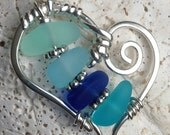FLOATING sea beach glass HEART pendant necklace