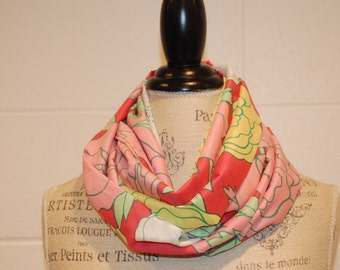 Pink and Yellow Modern Floral Infinity Scarf - Cotton Voile Fabric -Modern Fashion Accessory - Ladies Teens Tweens