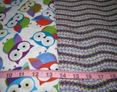 Fitted Bed Sheet - twin / single  - owls - purple green turquoise orange - made to order - by Happy Campers of the South (BS003)
