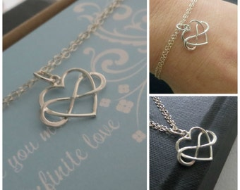 Interlocking infinity heart bracelet, mothers infinity bracelet, gift for mom, grandmother, thank you for your infinite love