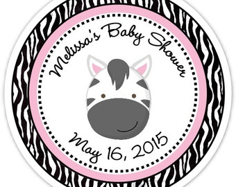Zebra Baby Shower Stickers   Zebra Custom Baby Shower Labels   Personalized  For YOU, Zebra