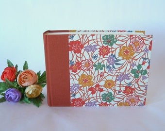 Photo album -cinnamon with wildflower katazome - 6x8in 15x20.5cm - 50 pages  - Ready to ship