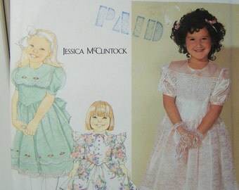 Simplicity 7080 Girl's Sewing Pattern, SALE Girl's Party or Communion Dress with Ruffled Hem, Full Skirt Dress, Size 2 - 6X Pattern Destash