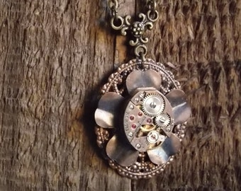 Flower Necklace - Steampunk Necklace - Copper and Brass Jewelry - Elgin Watch Movement - Rose Gold - Clockworks