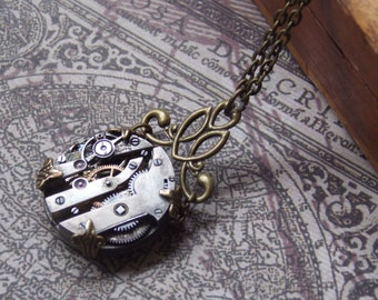 Steampunk Necklace Wrapped Watch Movement Brass Jewelry Clockworks