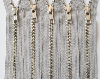 YKK Zippers-Silver Nickel Teeth Standard Pull Metal Zippers - NUMBER 5s (5) Pieces - Castle Grey 576- Available in 10,14 and 18 Inch