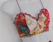 Bohemian hippie  chic festival  patchwork  bra top  adjustable size ... ready to ship