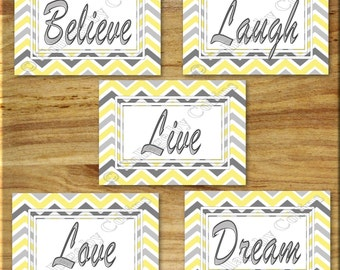 Yellow and Gray Chevron Zigzag Print Wall Art Inspirational Word Quote Girl Room