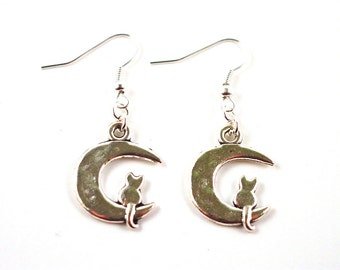 Cat Earrings - Moon Earrings - Cat on Moon Earrings