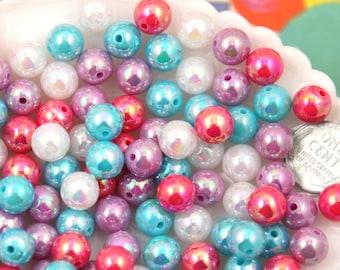 Kawaii Resin Beads - 10mm Round Pastel AB Iridescent Acrylic Pearl Plastic Beads - 100 pc set