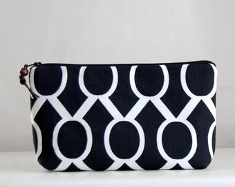 Black Sydney Wide Padded Zipper Pouch Gadget Case Cosmetics Bag - READY TO SHIP