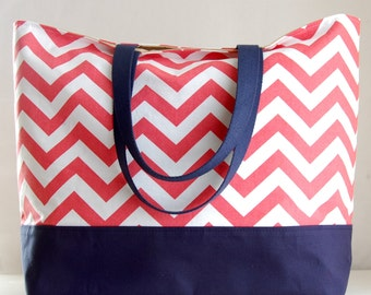 Coral Chevron XL Extra Large BIG Tote Bag / Beach Bag - Ready to Ship