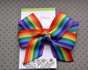 Rainbow Stripes Classic Diva Bow