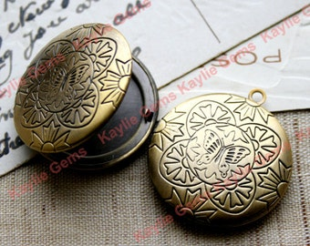 Round Butterfly Flower Oil Rubbed Antique Brass Locket  Pendants Charms -   LKRS-131ABO - 2pcs