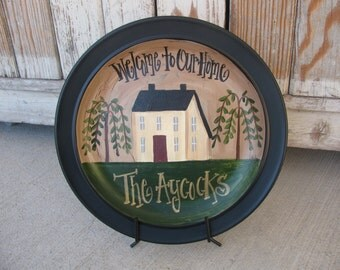 Primitive Hand Painted Personalized Saltbox and Willow Trees Plate GCC1987