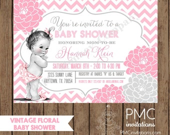 Custom Printed Vintage Floral Baby Shower Invitations - 1.00 each with envelope