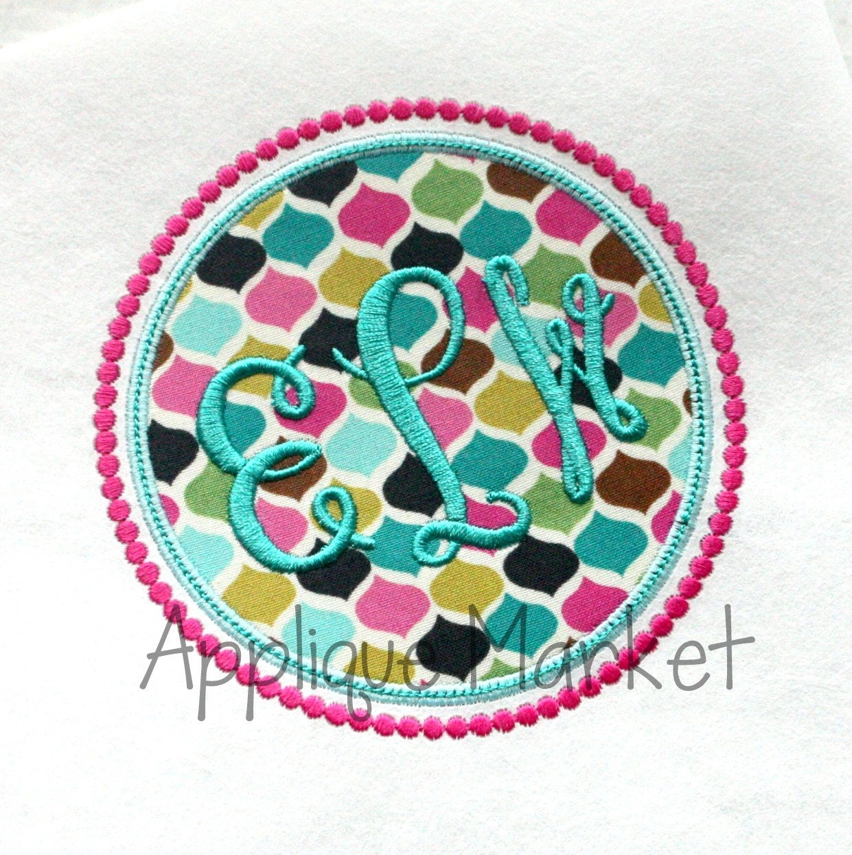 Machine embroidery design applique circle frame beaded instant