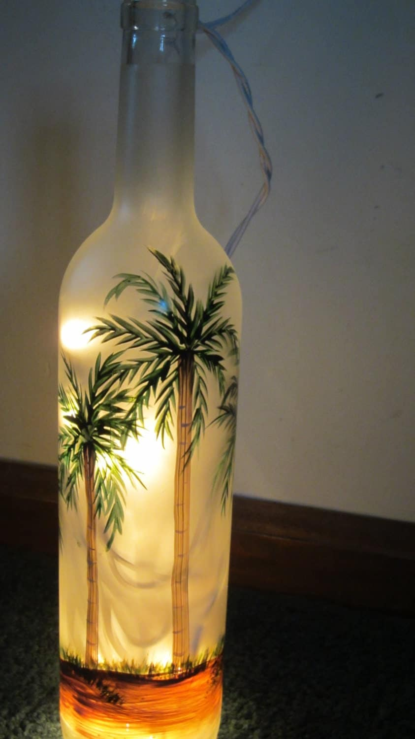 Hand painted frosted palm tree lighted wine bottle lighted for Bottle painting materials