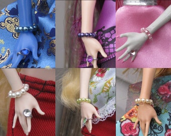 Tiny Pearl Doll Bracelet Jewelry fits Petite Slimline dolls  6 different colors to choose from