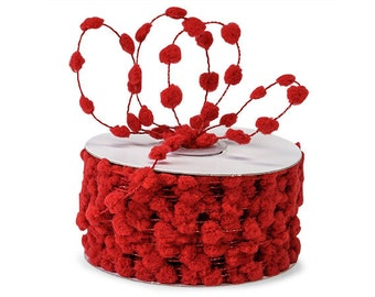 Red Wired Pom Pom Ribbon . 5 yards