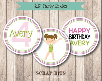 PRINTABLE . Gymnastics Girl Birthday Party Circles or Tags