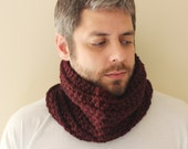 Unisex Crochet Circle Scarf/Cowl in Oxblood - Ready to Ship