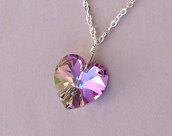 Vitrail Light crystal heart necklace, 18mm Swarovski crystal heart pendant necklace, lavender heart necklace, wire wrapped
