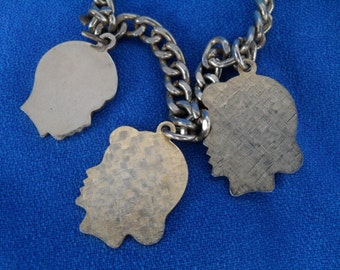 Vintage 1960s Charm Bracelet with Girl & Boy Profile Faces Heads Retro Mother Jewelry