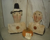 MADE TO ORDER - Primitive Pilgrims with Pumpkin Pie, Thanksgiving, Pilgrims, Pumpkin Pie, Fall, Dolls, Autumn, Ofg, Faap, Hafair, Dub