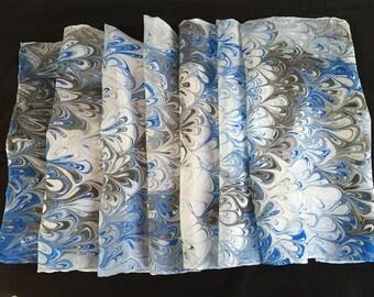 Blue and Black Silk Scarf