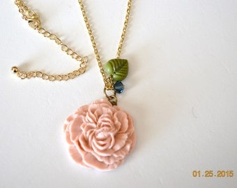 Goldtone Peony Flower with Green Leave and Navy Blue Swarovski Crystal  Great for Bridesmaid Gifts