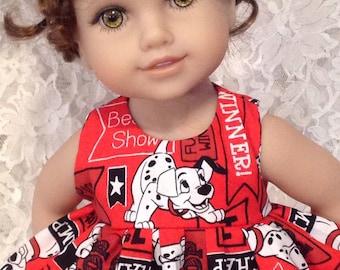 """LAST ONE * Disney 101 Dalmatians * Doll Dress fits 15"""" - 18"""" American Girl, Bitty Baby or My Twinn - sewnbyrachel"""