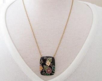Vintage Black Enamel Floral Pendant Necklace