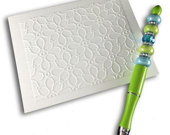 Embossed Note Card Set Blank Cards with Flower Embossing White on White by Lime Green Rhinestones
