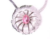 vintage pink rhinestone flower pendant necklace silver mid century modern wedding prom party gift