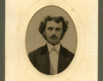 Handsome Man/ Edgar Allan Poe Resemblance/ Potter's Patent Tintype