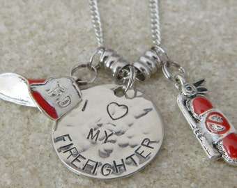 I love My Firefighter Charm Necklace